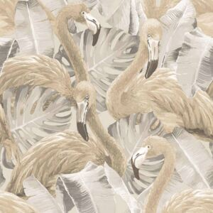 Noordwand Tapet Flamingo and Monstera beige
