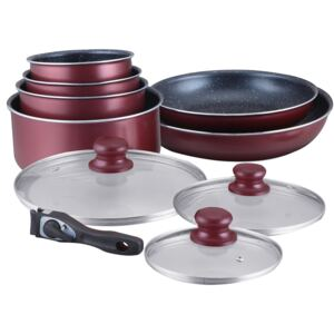 Herzberg HG-5000: 10 Pieces Cookware Set With Marble Coating Burgundy
