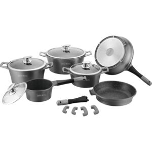 Royalty Line RL-ES1014M; Cookware set with marble coating 14 pcs Silver