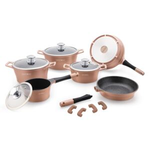 Royalty Line RL-ES1014M; Cookware set with marble coating 14 pcs Copper