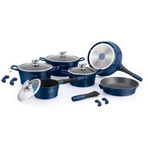 Royalty Line RL-ES1014M; Cookware set with marble coating 14 pcs Blue