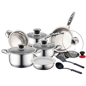Herzberg HG-16SSG: 16 Pieces Inox Cookware Set with Glass Lid