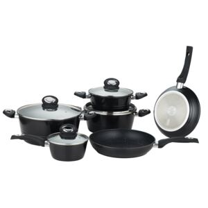 Herzberg HG-8079: 10 Pieces Forged Cookware Set Black