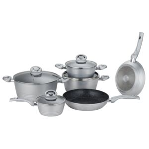 Herzberg HG-8079: 10 Pieces Forged Cookware Set Gray