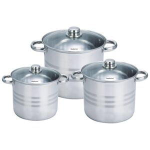 Royalty Line RL-SP4: 6 Pieces Stainless Steel Pots Set with Glass Lids