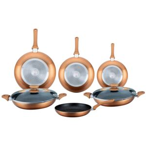 Herzberg HG-6010: 8 Pieces Marble Coated Frying Pan Set Copper