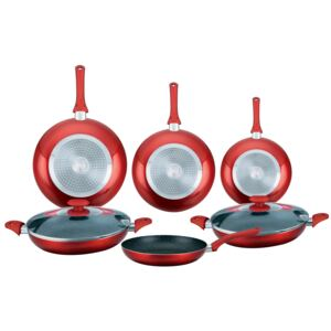 Herzberg HG-6010: 8 Pieces Marble Coated Frying Pan Set Red