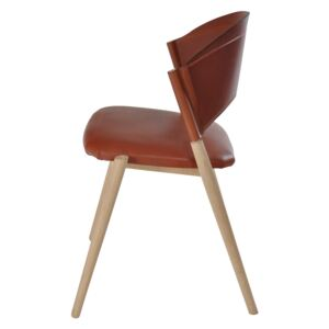 A Chair Oak untreated, Leather Cognac