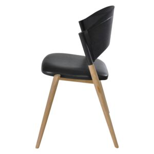 A Chair Oak untreated, Leather Black