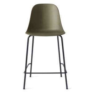 Menu Harbour Side Counter Chair - Black Steel Base, Olive Shell