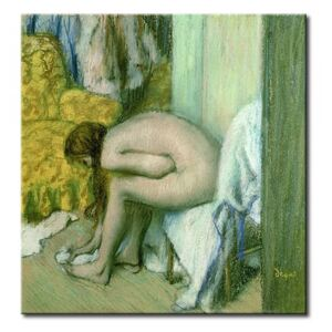 Målning After the Bath, Woman Drying her Left Foot