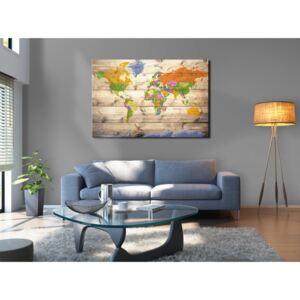 Konst Map on wood: Colourful Travels