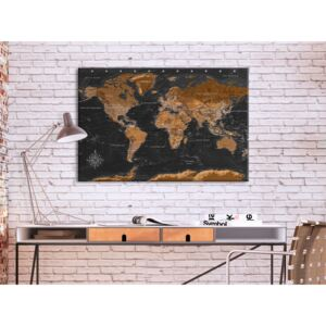 Canvastavla Brown World Map (French Text)