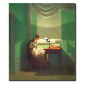 Tavla Young Woman Sewing by Lamplight